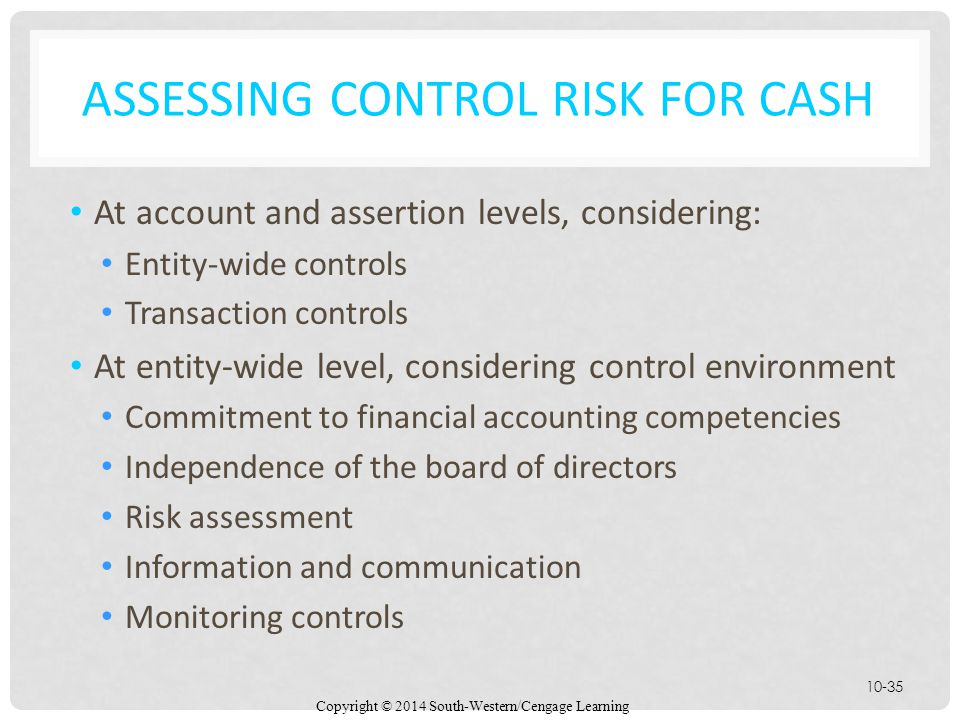 Copyright © 2014 South-Western/Cengage Learning 10-35 ASSESSING CONTROL RISK FOR CASH At account and assertion levels, considering: Entity-wide controls Transaction controls At entity-wide level, considering control environment Commitment to financial accounting competencies Independence of the board of directors Risk assessment Information and communication Monitoring controls