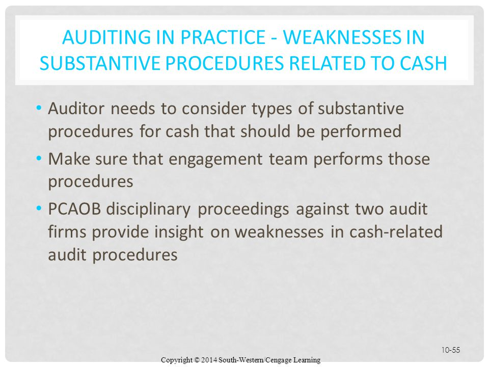Copyright © 2014 South-Western/Cengage Learning 10-55 AUDITING IN PRACTICE - WEAKNESSES IN SUBSTANTIVE PROCEDURES RELATED TO CASH Auditor needs to consider types of substantive procedures for cash that should be performed Make sure that engagement team performs those procedures PCAOB disciplinary proceedings against two audit firms provide insight on weaknesses in cash-related audit procedures