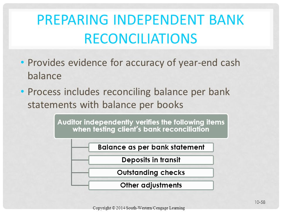 Copyright © 2014 South-Western/Cengage Learning 10-58 PREPARING INDEPENDENT BANK RECONCILIATIONS Provides evidence for accuracy of year-end cash balance Process includes reconciling balance per bank statements with balance per books Auditor independently verifies the following items when testing client's bank reconciliation Balance as per bank statement Deposits in transit Outstanding checks Other adjustments