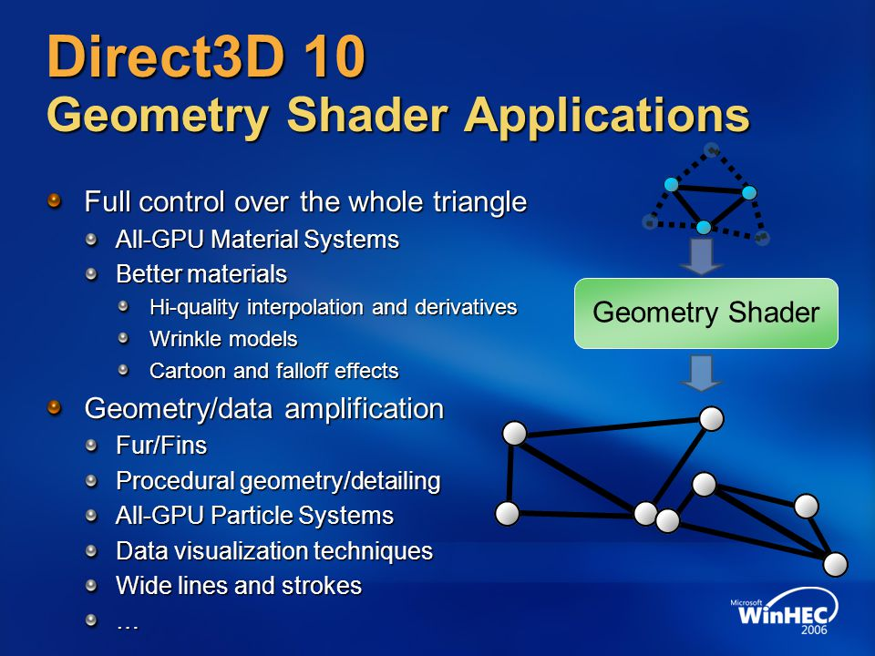 Direct3D 10 Geometry Shader Applications Full control over the whole triangle All-GPU Material Systems Better materials Hi-quality interpolation and derivatives Wrinkle models Cartoon and falloff effects Geometry/data amplification Fur/Fins Procedural geometry/detailing All-GPU Particle Systems Data visualization techniques Wide lines and strokes … Geometry Shader