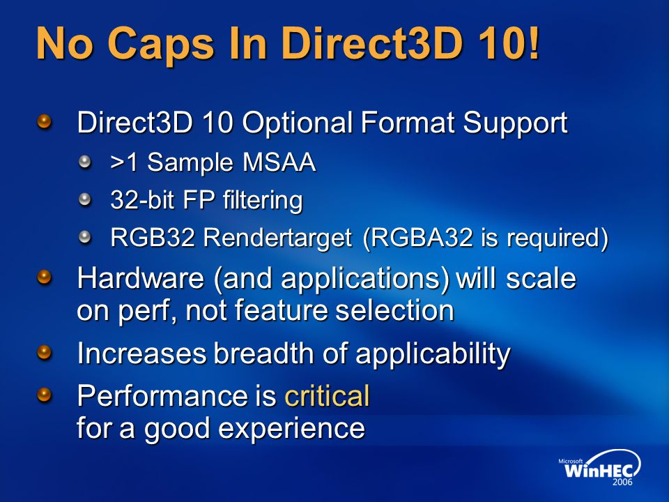No Caps In Direct3D 10.