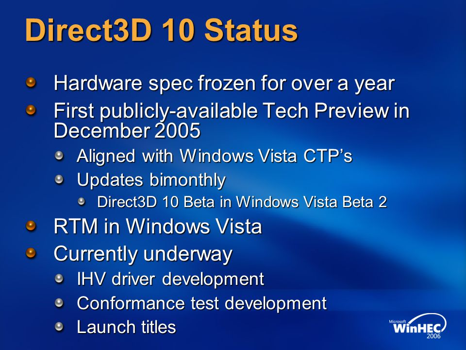 Direct3D 10 Status Hardware spec frozen for over a year First publicly-available Tech Preview in December 2005 Aligned with Windows Vista CTP's Updates bimonthly Direct3D 10 Beta in Windows Vista Beta 2 RTM in Windows Vista Currently underway IHV driver development Conformance test development Launch titles