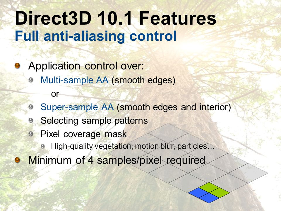 Direct3D 10.1 Features Full anti-aliasing control Application control over: Multi-sample AA (smooth edges) or Super-sample AA (smooth edges and interior) Selecting sample patterns Pixel coverage mask High-quality vegetation, motion blur, particles… Minimum of 4 samples/pixel required