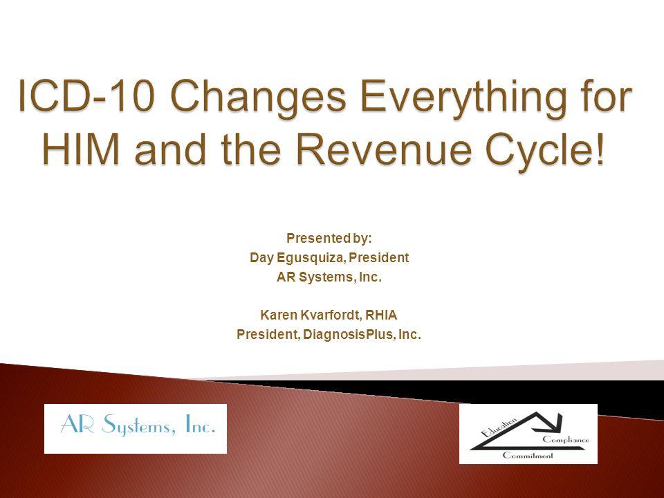 Presented by: Day Egusquiza, President AR Systems, Inc. Karen Kvarfordt, RHIA President, DiagnosisPlus, Inc.