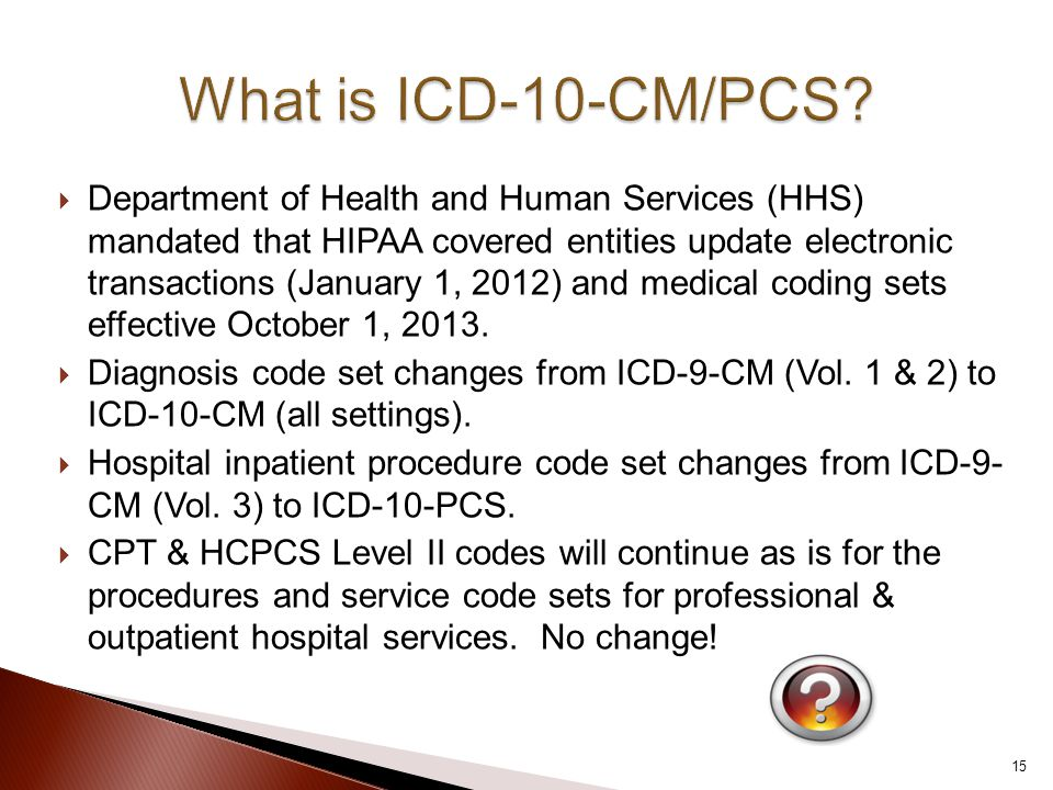  Department of Health and Human Services (HHS) mandated that HIPAA covered entities update electronic transactions (January 1, 2012) and medical coding sets effective October 1, 2013.