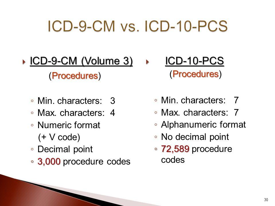  ICD-9-CM (Volume 3) Procedures (Procedures) ◦ Min. characters: 3 ◦ Max. characters: 4 ◦ Numeric format (+ V code) ◦ Decimal point ◦ 3,000 ◦ 3,000 pr