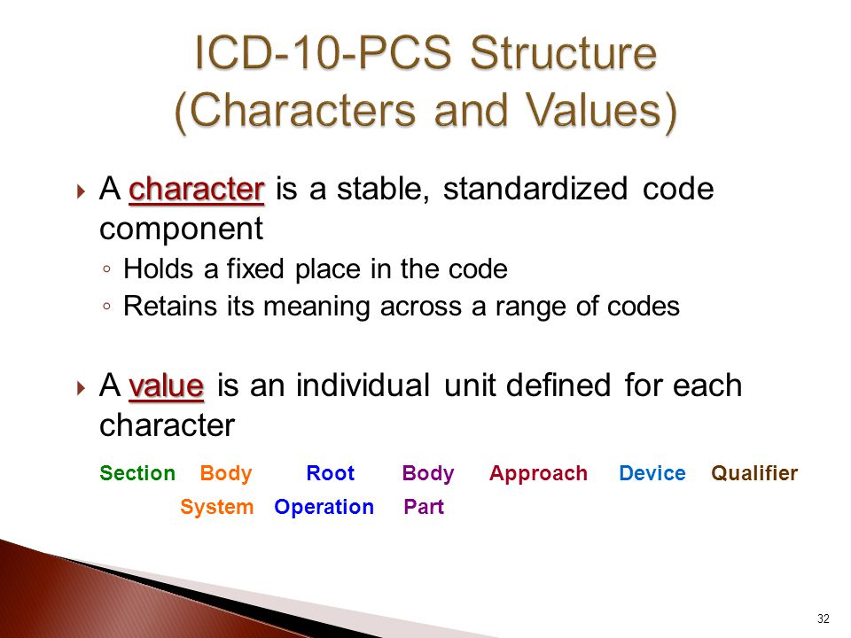 character  A character is a stable, standardized code component ◦ Holds a fixed place in the code ◦ Retains its meaning across a range of codes value