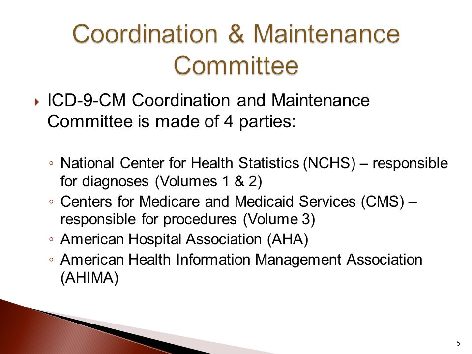  ICD-9-CM Coordination and Maintenance Committee is made of 4 parties: ◦ National Center for Health Statistics (NCHS) – responsible for diagnoses (Volumes 1 & 2) ◦ Centers for Medicare and Medicaid Services (CMS) – responsible for procedures (Volume 3) ◦ American Hospital Association (AHA) ◦ American Health Information Management Association (AHIMA) 5