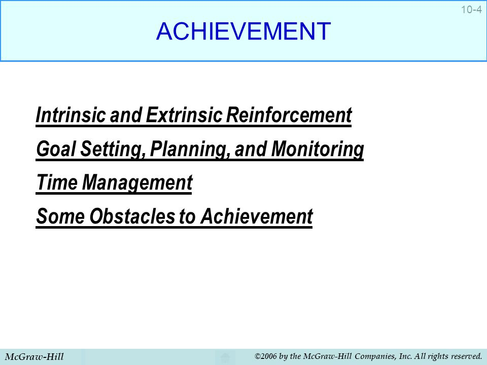McGraw-Hill ©2006 by the McGraw-Hill Companies, Inc. All rights reserved. 10-4 ACHIEVEMENT Intrinsic and Extrinsic Reinforcement Goal Setting, Plannin