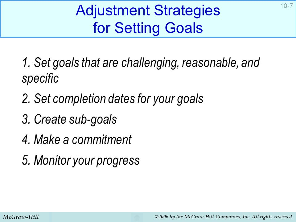 McGraw-Hill ©2006 by the McGraw-Hill Companies, Inc. All rights reserved. 10-7 Adjustment Strategies for Setting Goals 1. Set goals that are challengi