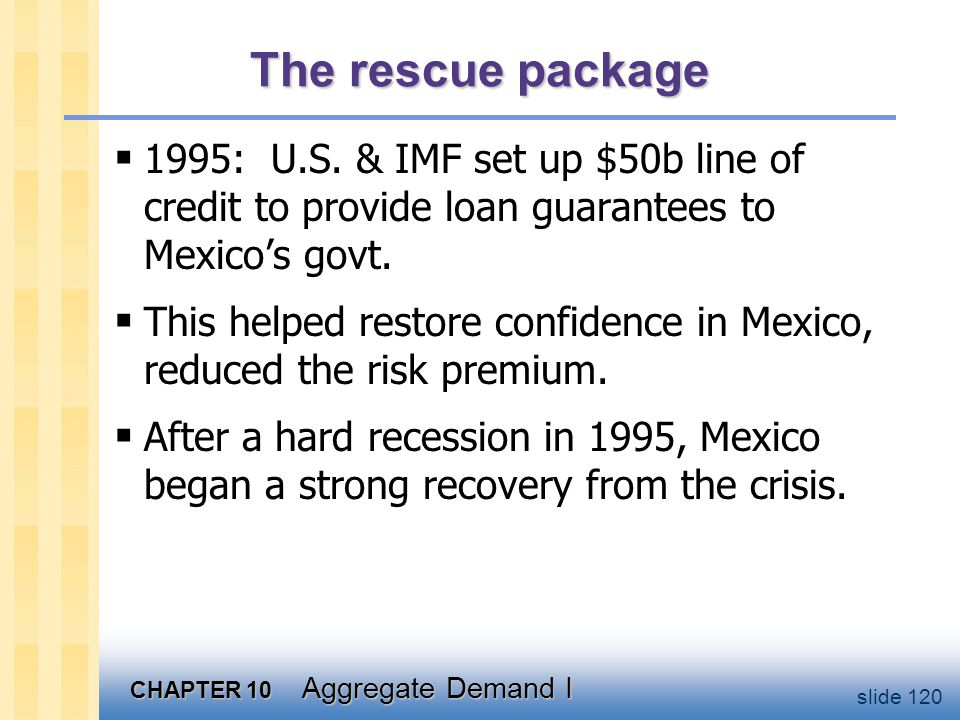 CHAPTER 10 Aggregate Demand I slide 120 The rescue package  1995: U.S. & IMF set up $50b line of credit to provide loan guarantees to Mexico's govt.