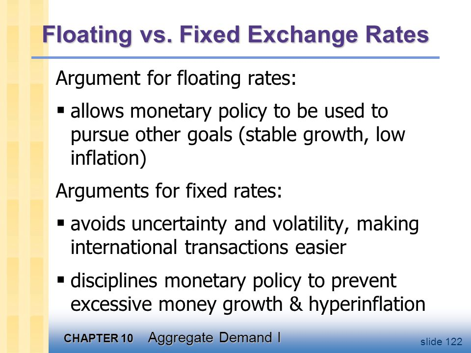 CHAPTER 10 Aggregate Demand I slide 122 Floating vs. Fixed Exchange Rates Argument for floating rates:  allows monetary policy to be used to pursue o
