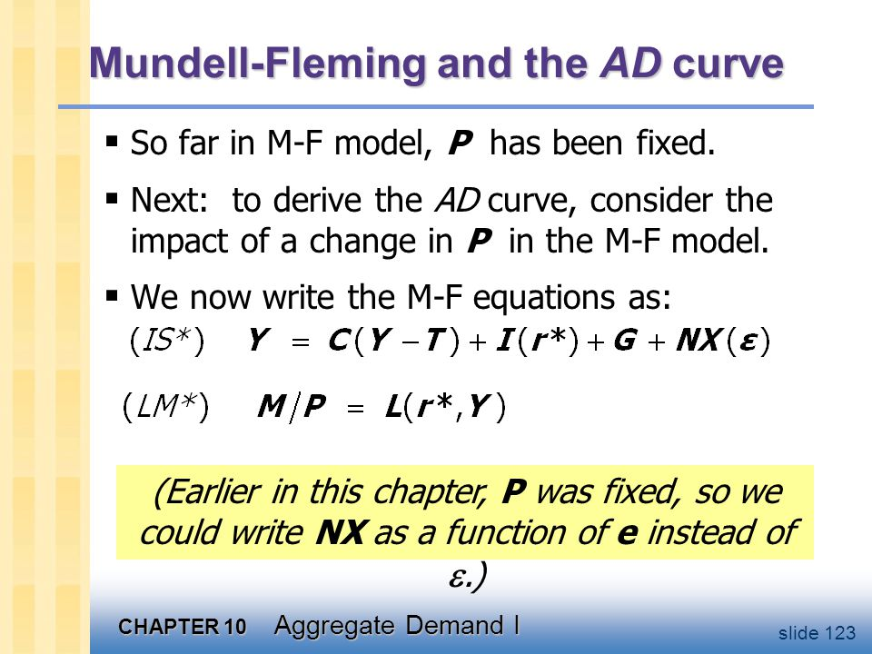 CHAPTER 10 Aggregate Demand I slide 123 Mundell-Fleming and the AD curve  So far in M-F model, P has been fixed.  Next: to derive the AD curve, cons