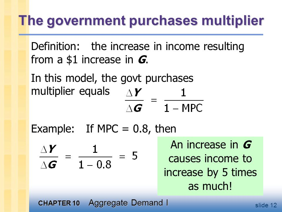 CHAPTER 10 Aggregate Demand I slide 12 The government purchases multiplier Example: If MPC = 0.8, then Definition: the increase in income resulting fr