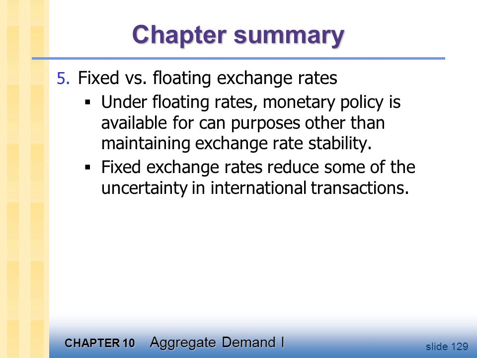 CHAPTER 10 Aggregate Demand I slide 129 Chapter summary 5. Fixed vs. floating exchange rates  Under floating rates, monetary policy is available for
