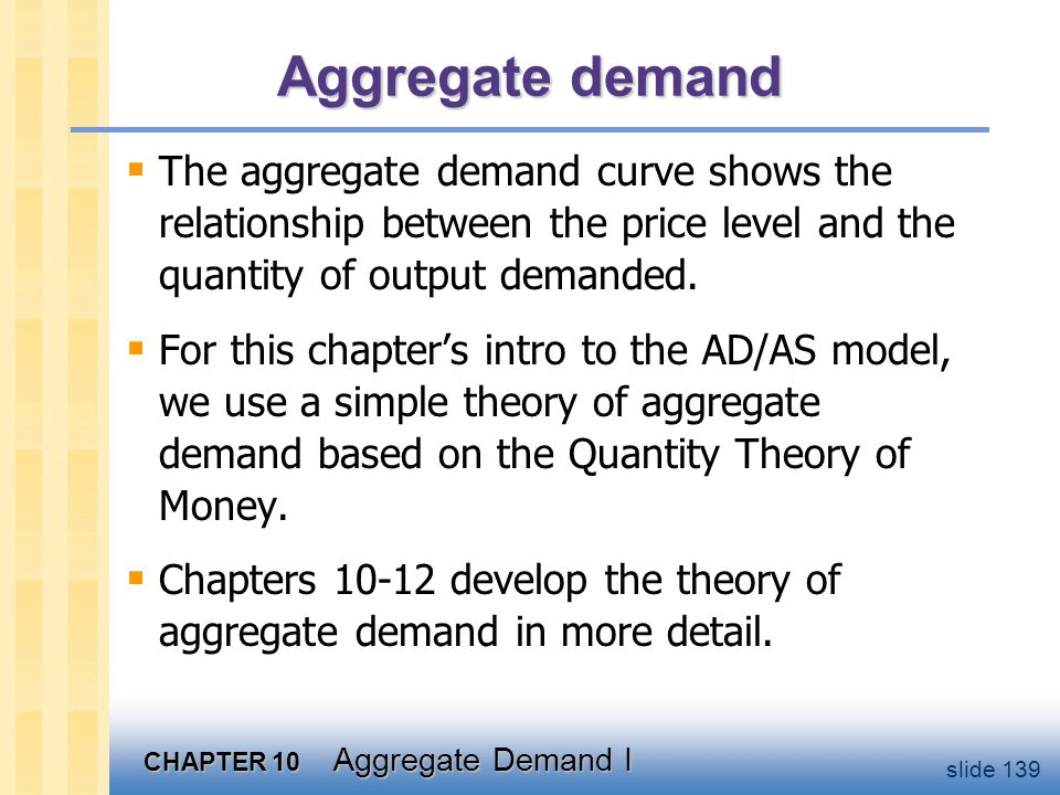 CHAPTER 10 Aggregate Demand I slide 139 Aggregate demand  The aggregate demand curve shows the relationship between the price level and the quantity