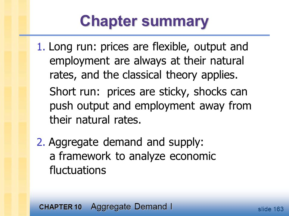 CHAPTER 10 Aggregate Demand I slide 163 Chapter summary 1. Long run: prices are flexible, output and employment are always at their natural rates, and