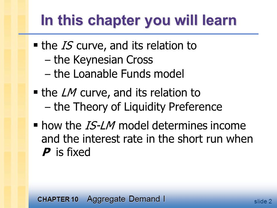 CHAPTER 10 Aggregate Demand I slide 2 In this chapter you will learn  the IS curve, and its relation to – the Keynesian Cross – the Loanable Funds mo