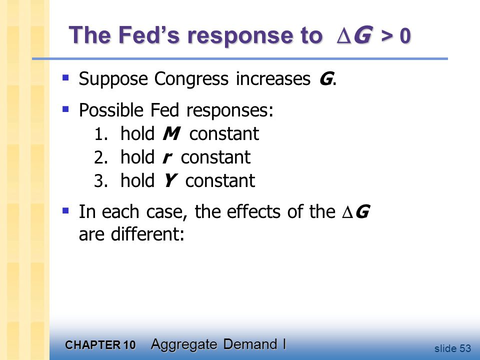 CHAPTER 10 Aggregate Demand I slide 53 The Fed's response to  G > 0  Suppose Congress increases G.  Possible Fed responses: 1. hold M constant 2. h