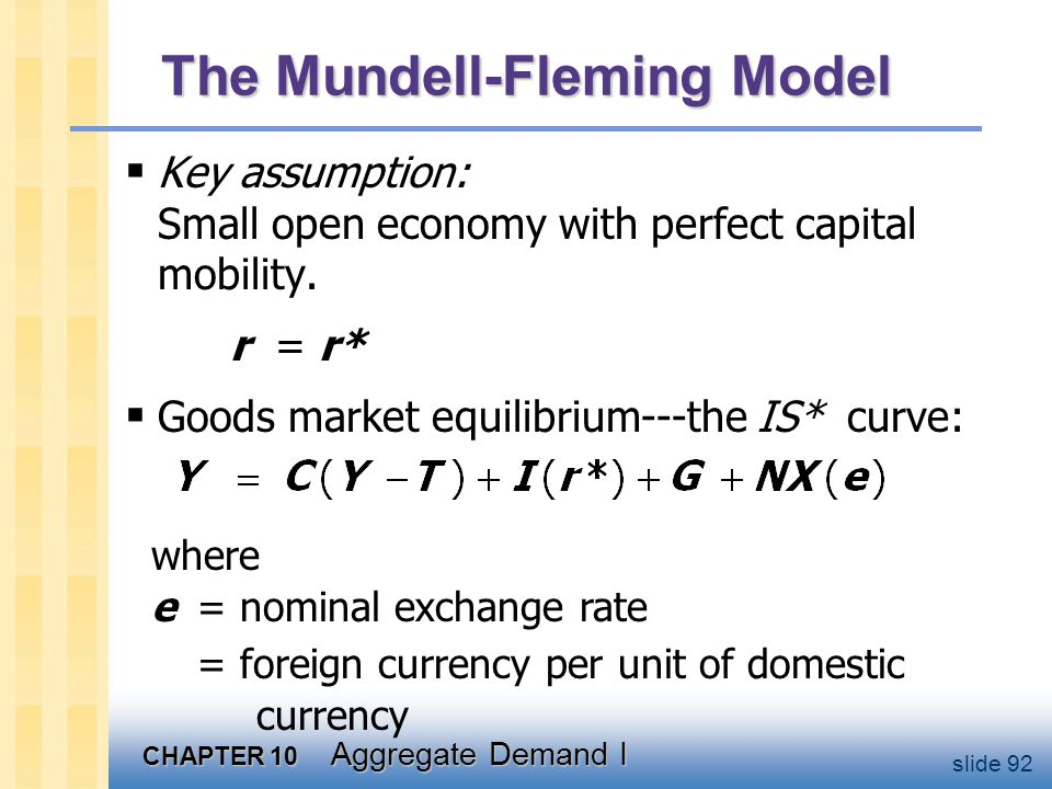CHAPTER 10 Aggregate Demand I slide 92 The Mundell-Fleming Model  Key assumption: Small open economy with perfect capital mobility. r = r*  Goods ma