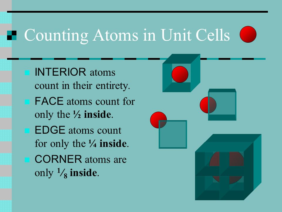 Materials Density Density of materials is mass per unit volume. Unit cells have dimensions and volumes. Their contents, atoms, have mass. So density o