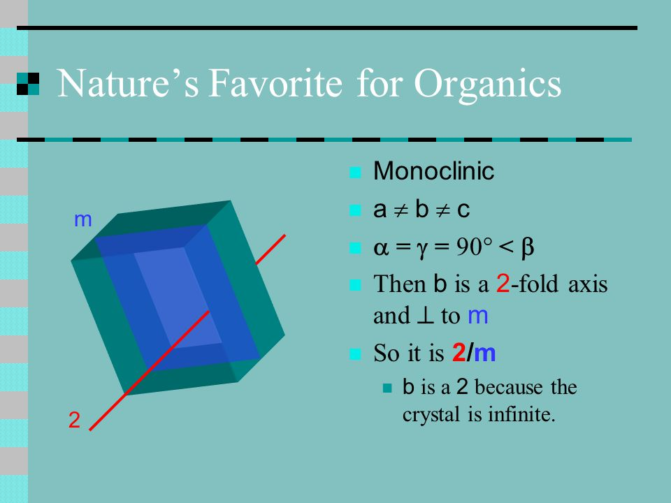 Last of the Great Rectangles Tetragonal all 90° and a = b  c Principle axis is 4 which is  m But it is also || to mm So it is designated as 4/m mm Abbreviated 4/mmm 4 m m m
