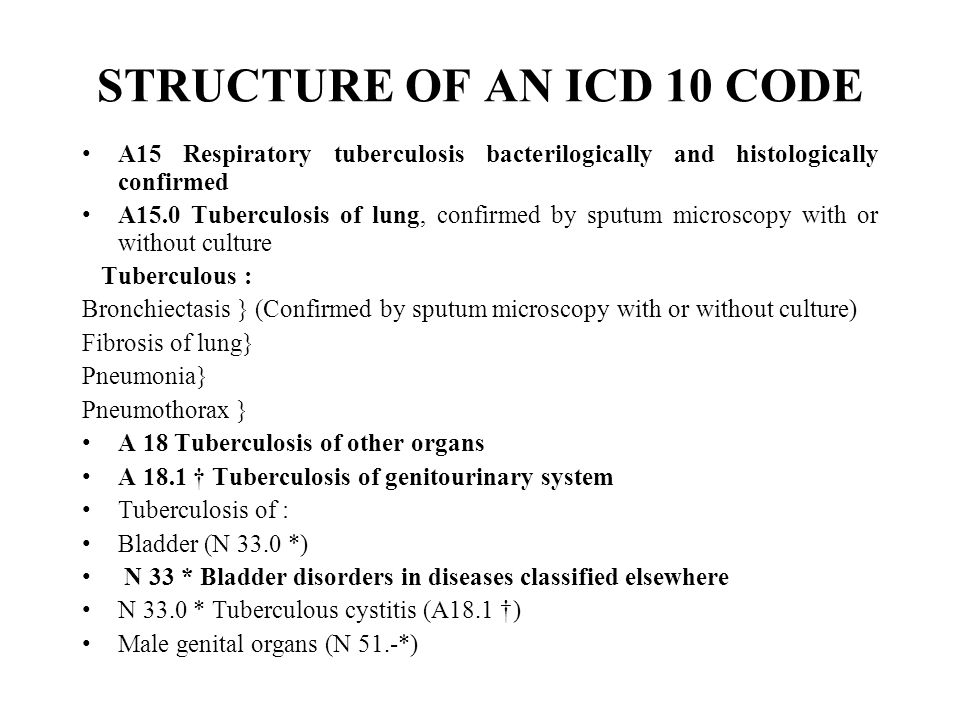 STRUCTURE OF AN ICD 10 CODE A15 Respiratory tuberculosis bacterilogically and histologically confirmed A15.0 Tuberculosis of lung, confirmed by sputum microscopy with or without culture Tuberculous : Bronchiectasis } (Confirmed by sputum microscopy with or without culture) Fibrosis of lung} Pneumonia} Pneumothorax } A 18 Tuberculosis of other organs A 18.1 † Tuberculosis of genitourinary system Tuberculosis of : Bladder (N 33.0 *) N 33 * Bladder disorders in diseases classified elsewhere N 33.0 * Tuberculous cystitis (A18.1 †) Male genital organs (N 51.-*)