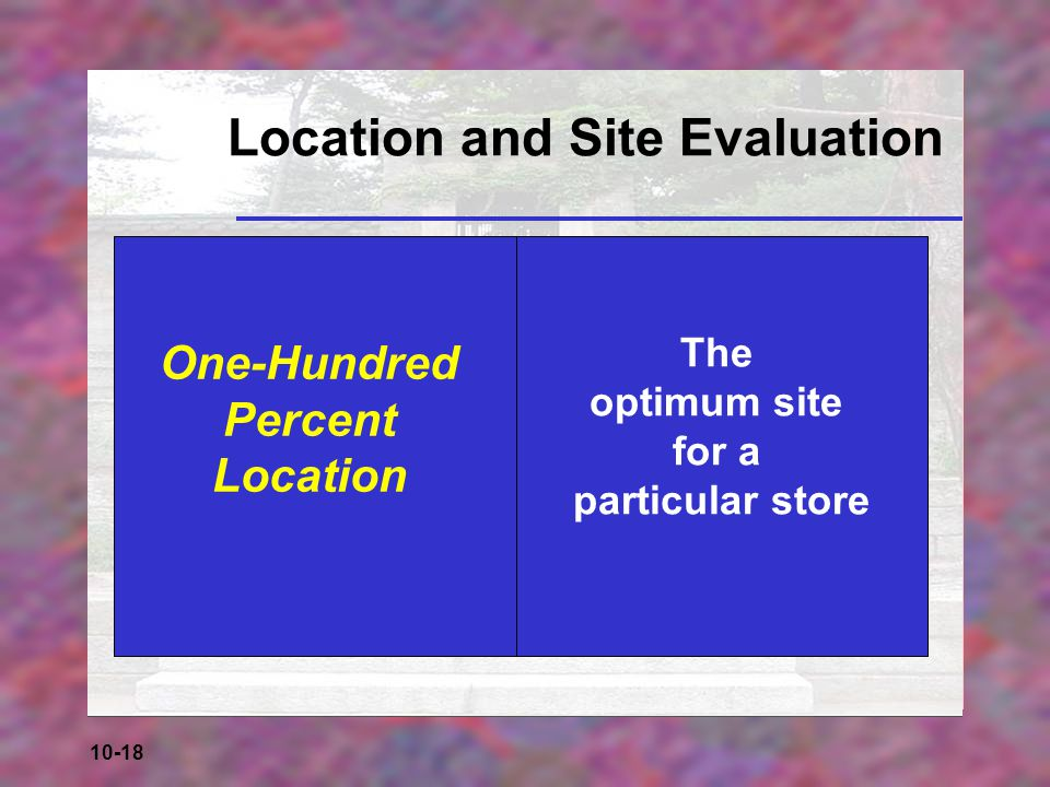 10-18 Location and Site Evaluation One-Hundred Percent Location The optimum site for a particular store