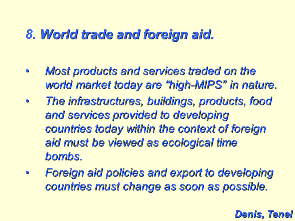 World trade and foreign aid. 8. World trade and foreign aid.