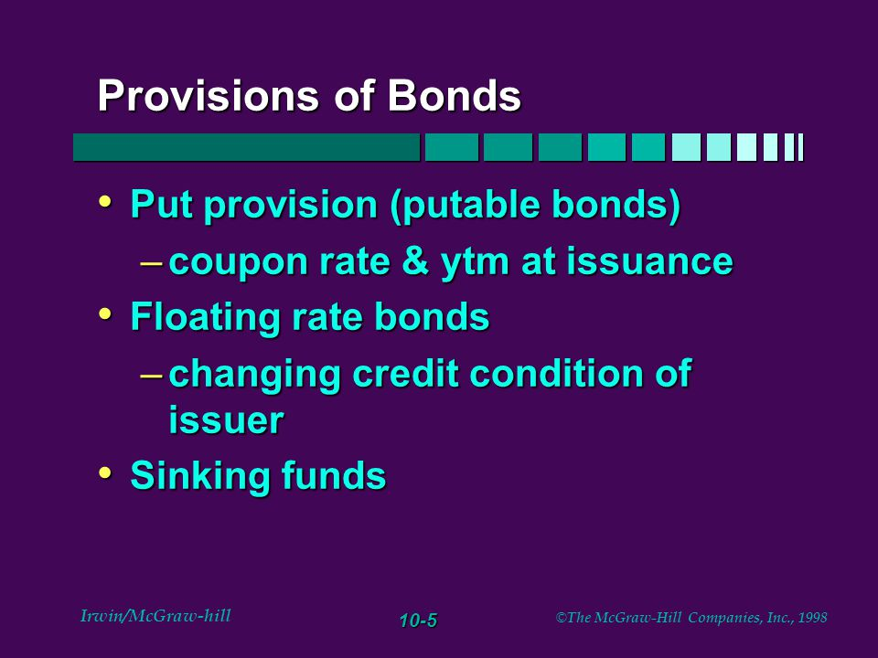 10-6 Irwin/McGraw-hill © The McGraw-Hill Companies, Inc., 1998 Other innovations Pay in kind bonds (pik) Pay in kind bonds (pik) reverse floaters reverse floaters indexed bonds (TIPS -Treasury Inflation Protection bonds) indexed bonds (TIPS -Treasury Inflation Protection bonds)