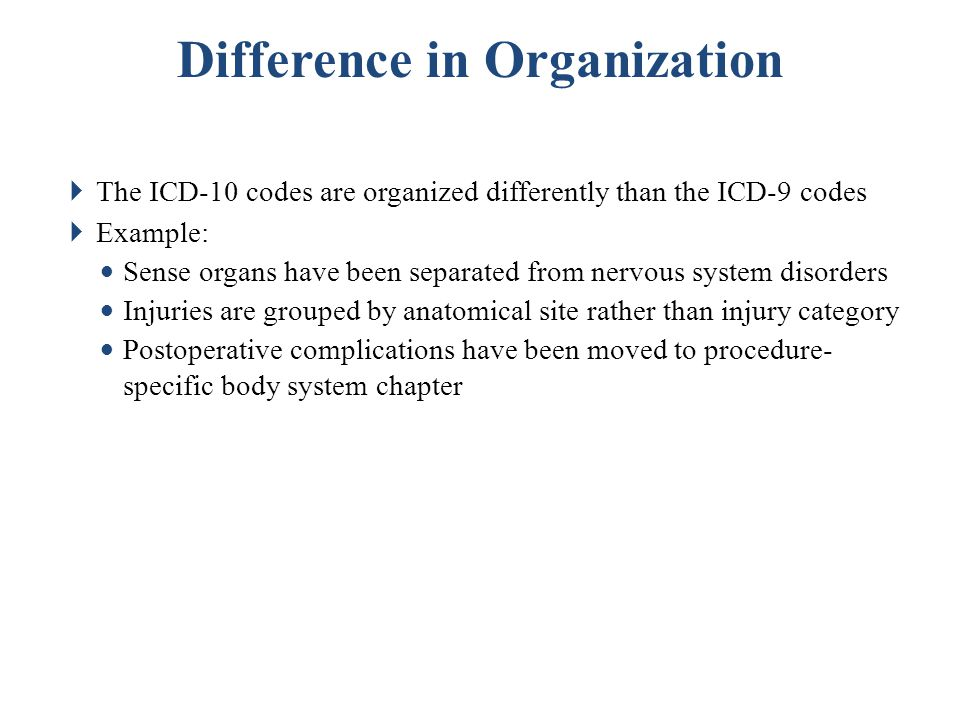  ICD-10-PCS has four basic characteristics Allows for unique coding of procedures (easy to distinguish differences) Room for expansion Standardized terminology Consistency in coding from chapter to chapter Characteristics of ICD-10 PCS