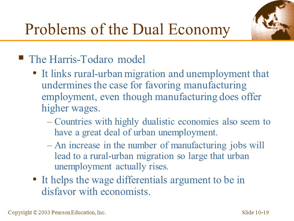 Slide 10-19Copyright © 2003 Pearson Education, Inc.  The Harris-Todaro model It links rural-urban migration and unemployment that undermines the case