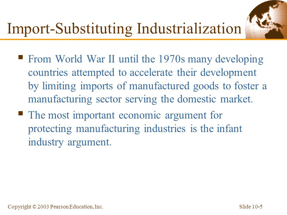 Slide 10-5Copyright © 2003 Pearson Education, Inc.  From World War II until the 1970s many developing countries attempted to accelerate their develop