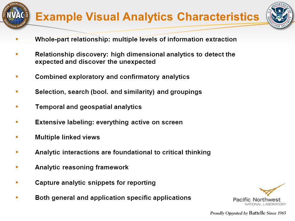 13 Example Visual Analytics Characteristics  Whole-part relationship: multiple levels of information extraction  Relationship discovery: high dimens