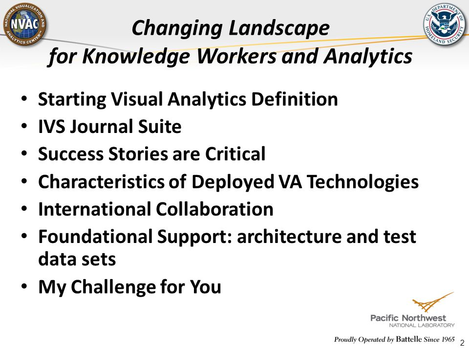 2 Changing Landscape for Knowledge Workers and Analytics Starting Visual Analytics Definition IVS Journal Suite Success Stories are Critical Character