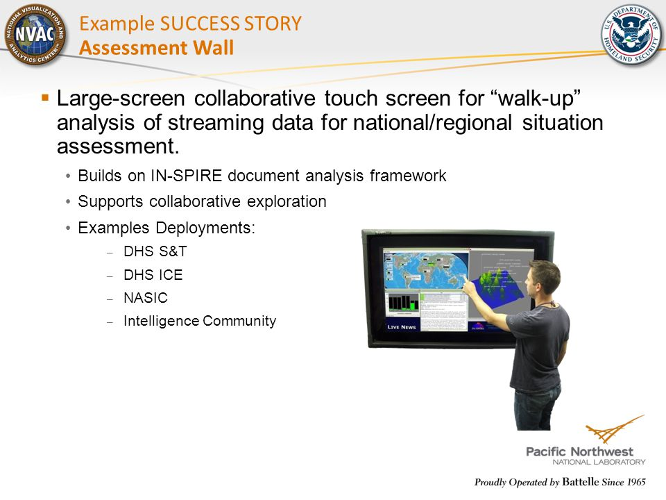 " Large-screen collaborative touch screen for ""walk-up"" analysis of streaming data for national/regional situation assessment. Builds on IN-SPIRE docu"
