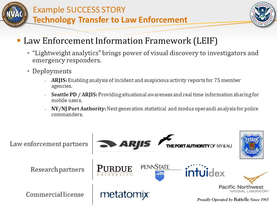" Law Enforcement Information Framework (LEIF) ""Lightweight analytics"" brings power of visual discovery to investigators and emergency responders. Dep"