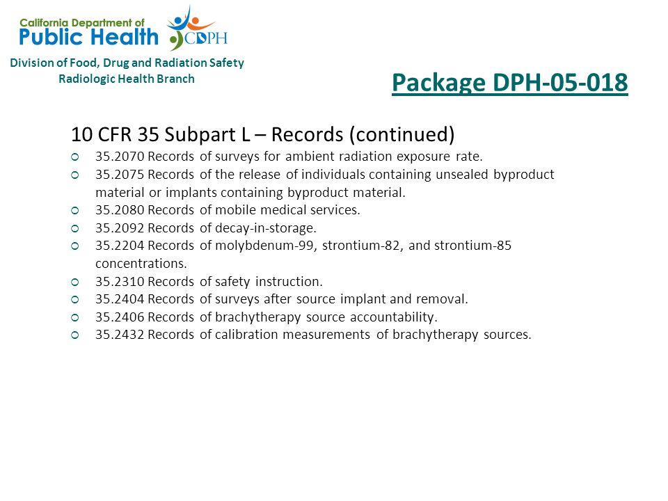 Division of Food, Drug and Radiation Safety Radiologic Health Branch Package DPH-05-018 10 CFR 35 Subpart L – Records  35.2024 Records of authority and responsibilities for radiation protection programs.