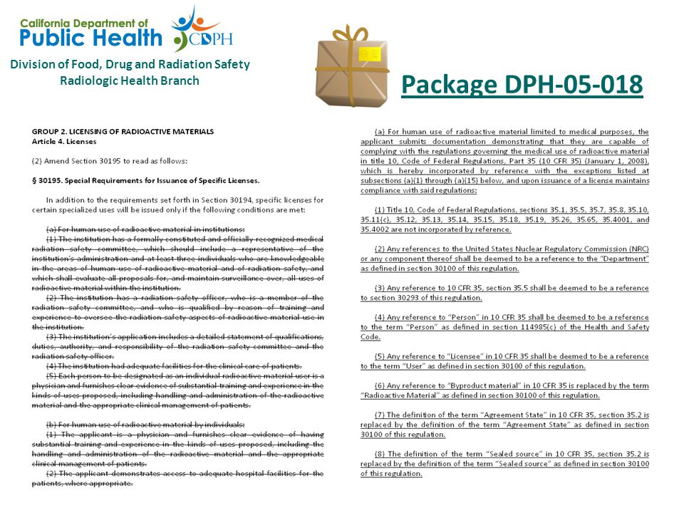 Division of Food, Drug and Radiation Safety Radiologic Health Branch Package DPH-05-018