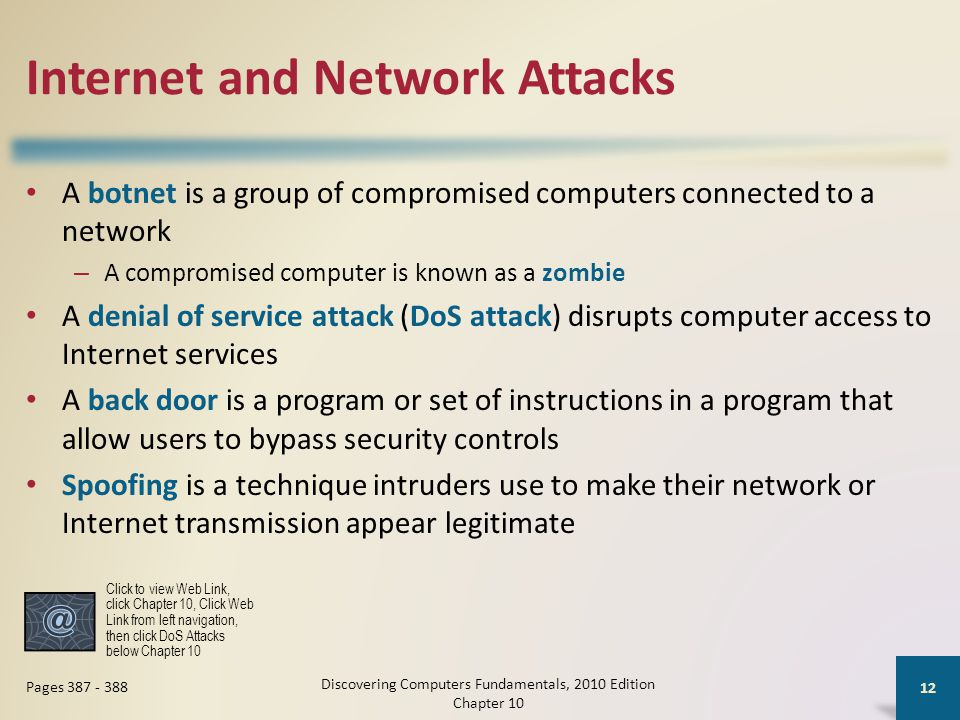 Internet and Network Attacks A botnet is a group of compromised computers connected to a network – A compromised computer is known as a zombie A denia