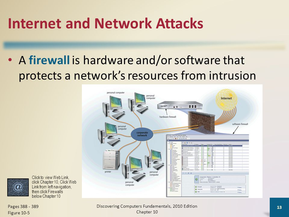 Internet and Network Attacks A firewall is hardware and/or software that protects a network's resources from intrusion Discovering Computers Fundament