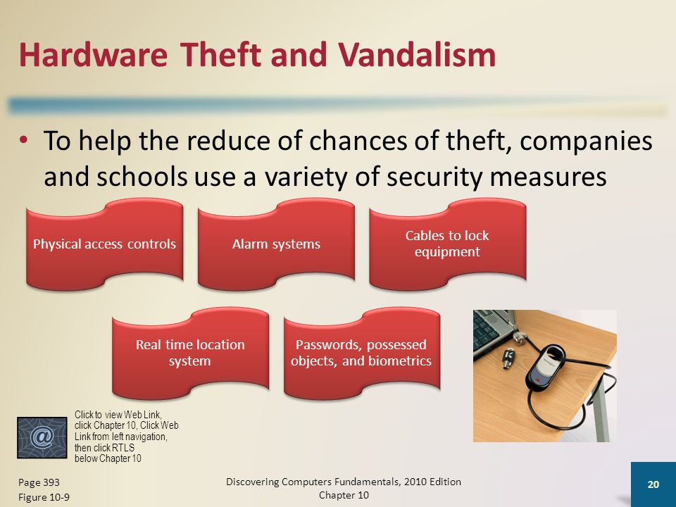 Hardware Theft and Vandalism To help the reduce of chances of theft, companies and schools use a variety of security measures Discovering Computers Fu
