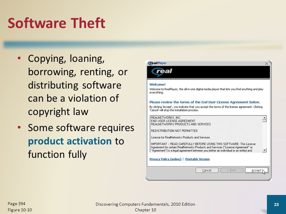 Software Theft Copying, loaning, borrowing, renting, or distributing software can be a violation of copyright law Some software requires product activ