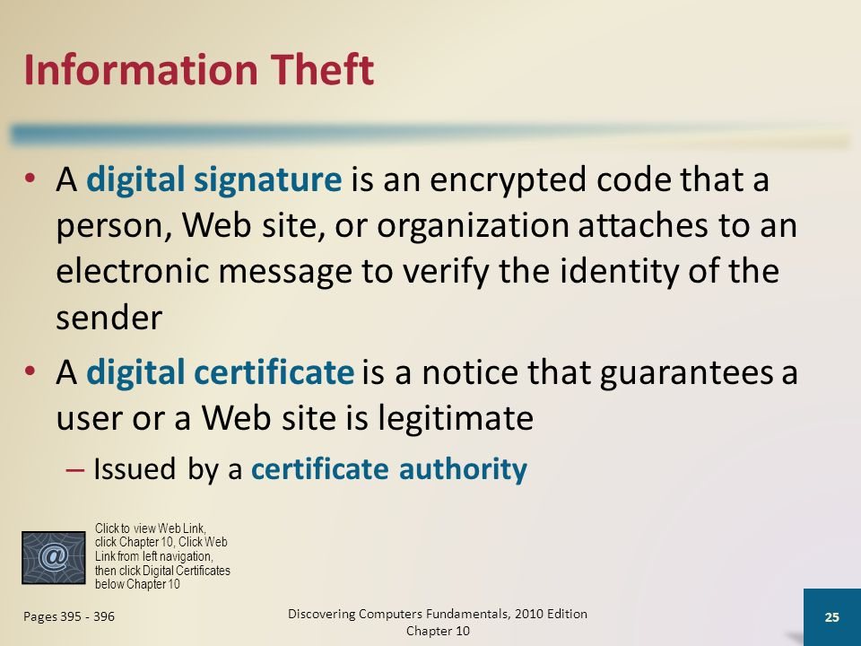 Information Theft A digital signature is an encrypted code that a person, Web site, or organization attaches to an electronic message to verify the id