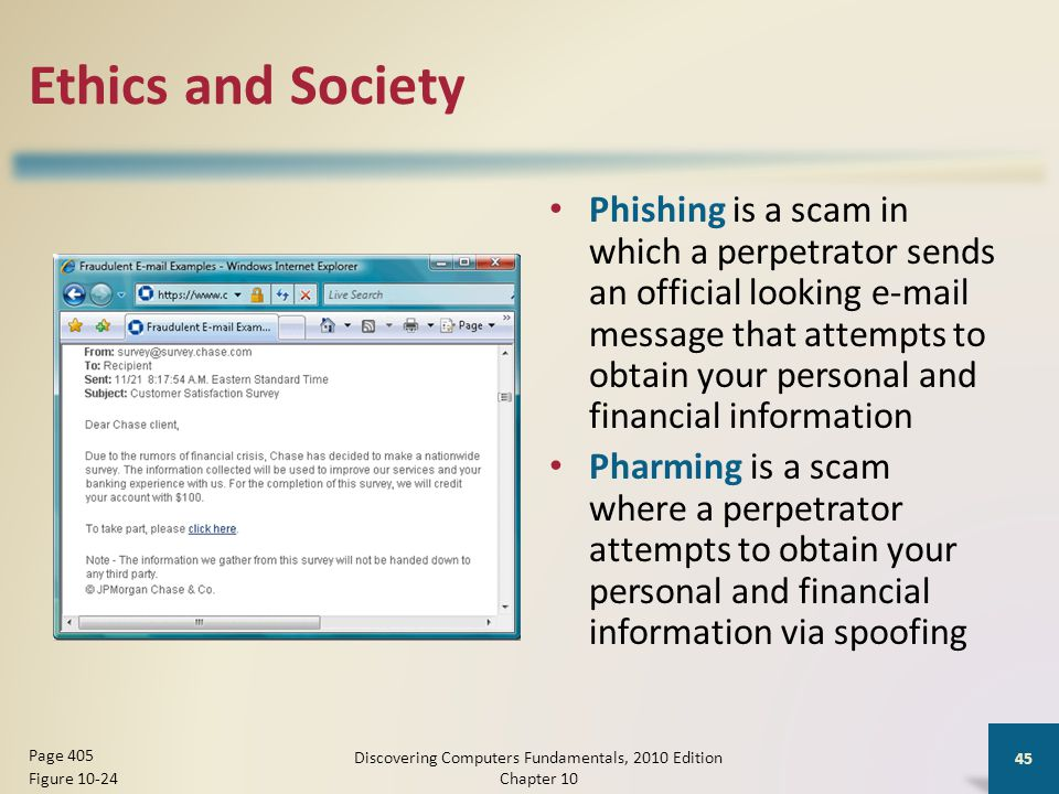 Ethics and Society Phishing is a scam in which a perpetrator sends an official looking e-mail message that attempts to obtain your personal and financ