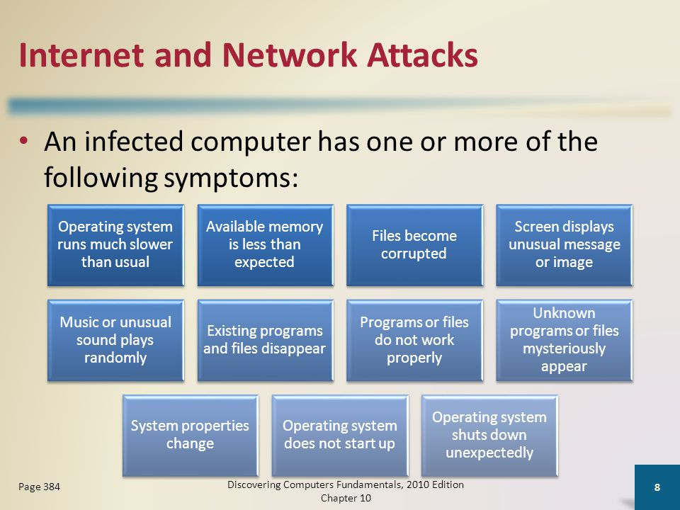 Internet and Network Attacks An infected computer has one or more of the following symptoms: Discovering Computers Fundamentals, 2010 Edition Chapter