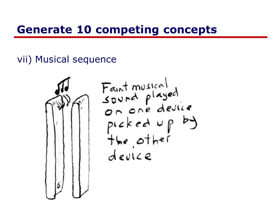 Generate 10 competing concepts vii) Musical sequence