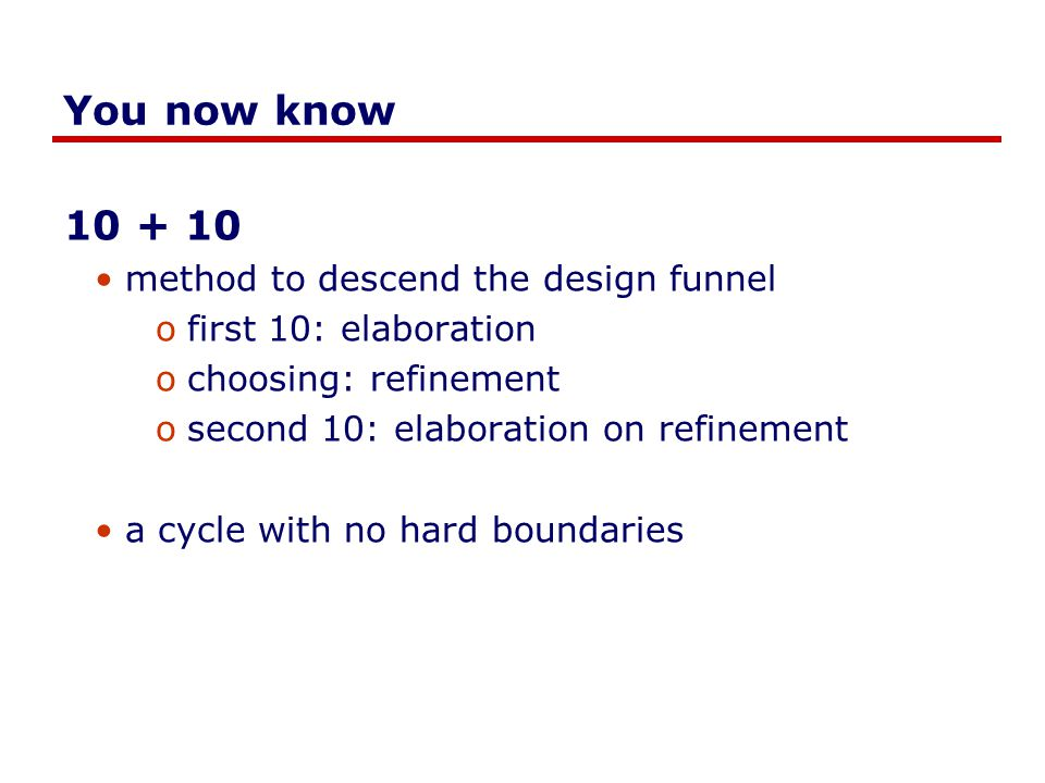 You now know 10 + 10 method to descend the design funnel ofirst 10: elaboration ochoosing: refinement osecond 10: elaboration on refinement a cycle with no hard boundaries