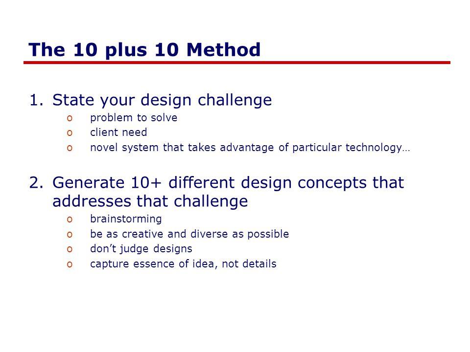 Generate 10 competing concepts viii) Light / dark patterns