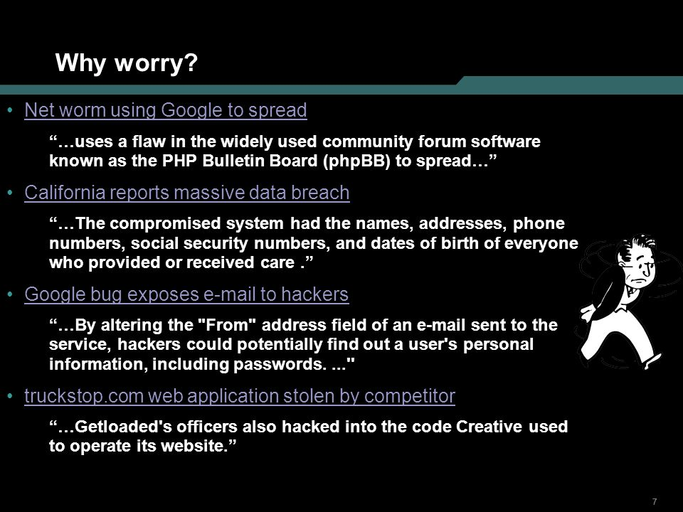 888 Web server attack Discover Examine the environment Identify open ports Discover types/versions of apps running Banner grabbing Extensions (.jhtml,.jsp, etc.) and directory structures Generate and examine errors Submit ridiculous input to provoke errors (fuzzing) Database errors, stack traces very helpful Find info left behind (source code, comments, hidden fields) Target Login mechanism Input fields Session mgmt Infrastructure